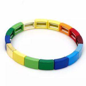 NEW Hand Painted Enamel Tila Tile stretch Bracelet